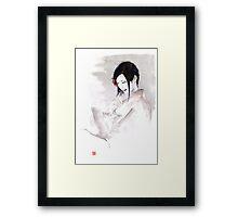 Geisha Japanese woman dream clouds crane bird portrait young girlsumi-e original painting art print Framed Print