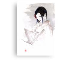 Geisha Japanese woman dream clouds crane bird portrait young girlsumi-e original painting art print Canvas Print