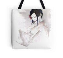 Geisha Japanese woman dream clouds crane bird portrait young girlsumi-e original painting art print Tote Bag