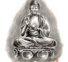 Buddha Medicine sumi-e tibetan calligraphy 禅 figure sculpture original ink painting artwork by Mariusz Szmerdt