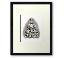 Buddha Medicine sumi-e tibetan calligraphy 禅 figure sculpture original ink painting artwork Framed Print