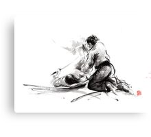 Samurai sword bushido katana martial arts budo sumi-e original ink painting artwork Canvas Print
