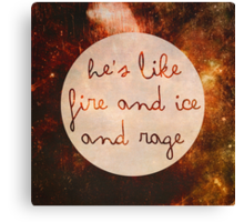 Doctor Who - He's like Fire and Ice and Rage Canvas Print