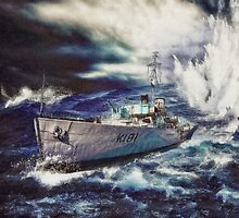 Canadian Flower Class Corvette Dropping a Depth Charge by Shawna Mac