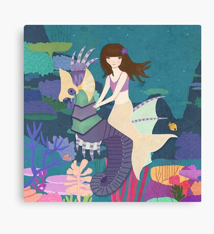 Tara and her Seahorse Canvas Print