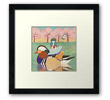 Zoe and her Mandarin Duck Framed Print