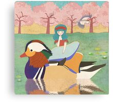 Zoe and her Mandarin Duck Canvas Print