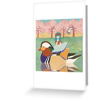 Zoe and her Mandarin Duck Greeting Card