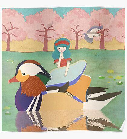 Zoe and her Mandarin Duck Poster