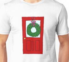 Christmas Wreath on Door Unisex T-Shirt