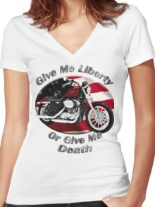 Harley Davidson Sportster Give Me Liberty Women's Fitted V-Neck T-Shirt