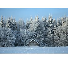 Wintry hay barn Photographic Print