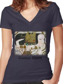 Gustav Klimt - Expectancy Women's Fitted V-Neck T-Shirt