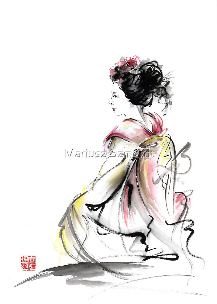 Geisha Japanese woman young girl in Tokyo kimono fabric design original Japan painting art by Mariusz Szmerdt