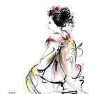 Geisha Japanese woman young girl in Tokyo kimono fabric design original Japan painting art by Mariusz Szmerdt