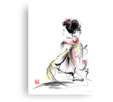 Geisha Japanese woman young girl in Tokyo kimono fabric design original Japan painting art Canvas Print
