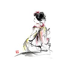 Geisha Japanese woman young girl in Tokyo kimono fabric design original Japan painting art Photographic Print