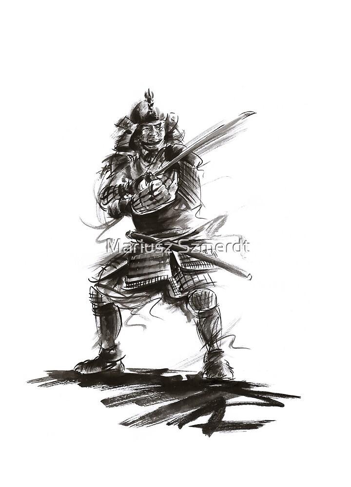 Samurai sword bushido katana martial arts sumi-e original ink armor yoroi painting artwork by Mariusz Szmerdt