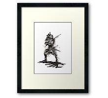 Samurai sword bushido katana martial arts sumi-e original ink armor yoroi painting artwork Framed Print