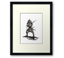 Samurai sword bushido katana martial arts sumi-e original ink armor yoroi painting artwork Framed Print