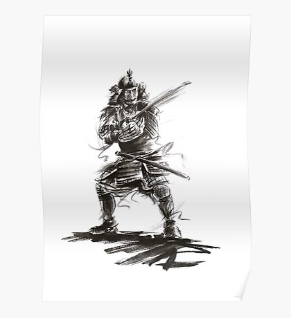 Samurai sword bushido katana martial arts sumi-e original ink armor yoroi painting artwork Poster