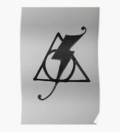 Deathly Hallows Symbol and Scar combination --Fancy Poster