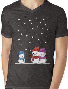 Cute Snowman family Mens V-Neck T-Shirt