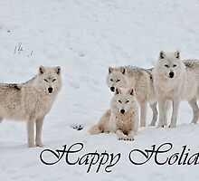 Arctic Wolf Holidays Card 2 by WolvesOnly