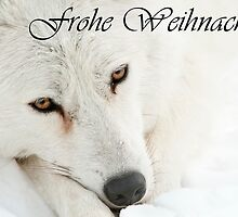 Arctic Wolf Christmas Card German 4 by WolvesOnly