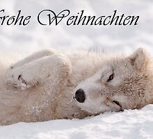 Arctic Wolf Christmas Card German 6 by WolvesOnly