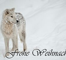 Arctic Wolf Christmas Card German 8 by WolvesOnly