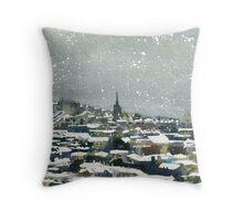 Snowy Edinburgh Throw Pillow