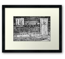 Rustic Old Colorado Barn Door and Window BW Framed Print