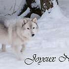 Timber Wolf Christmas Card French 1 by WolvesOnly