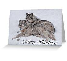 Timber Wolf Christmas Card English 2 Greeting Card