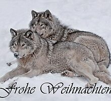 Timber Wolf Christmas Card German 2 by WolvesOnly