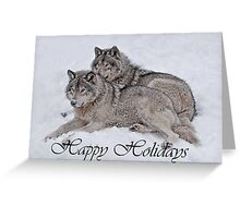 Timber Wolf Holiday Card 2 Greeting Card
