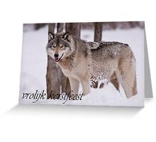Timber Wolf Christmas Card Dutch 3 Greeting Card