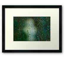 Rainy Window overlooking sculpture. Framed Print