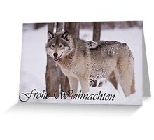 Timber Wolf Christmas Card German 3 Greeting Card