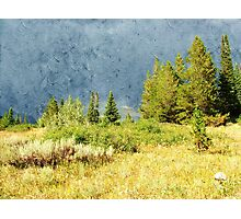 Oil painting style landscape photography. Mountain hill under storming sky at Grand Teton National Park. Photographic Print