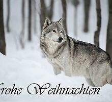 Timber Wolf Christmas Card German 6 by WolvesOnly