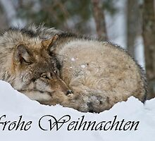 Timber Wolf Christmas Card German 7 by WolvesOnly