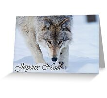 Timber Wolf Christmas Card French 12 Greeting Card