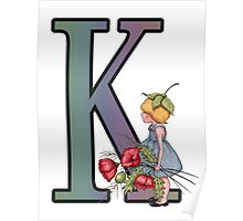 Initial K, Alphabet Letter, Girl with Poppies, Color Pencil Art Poster