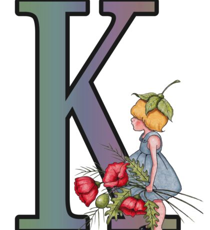 Initial K, Alphabet Letter, Girl with Poppies, Color Pencil Art Sticker