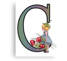 Initial C, Alphabet Letter, Girl with Poppies, Color Pencil Art Canvas Print