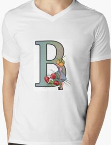 Little Girl with Flowers and the Letter B, Intial, Color Pencil Mens V-Neck T-Shirt