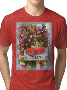 Christmas Holly Jolly Sign Tri-blend T-Shirt
