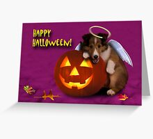 Halloween Angel Shetland Sheepdog Greeting Card